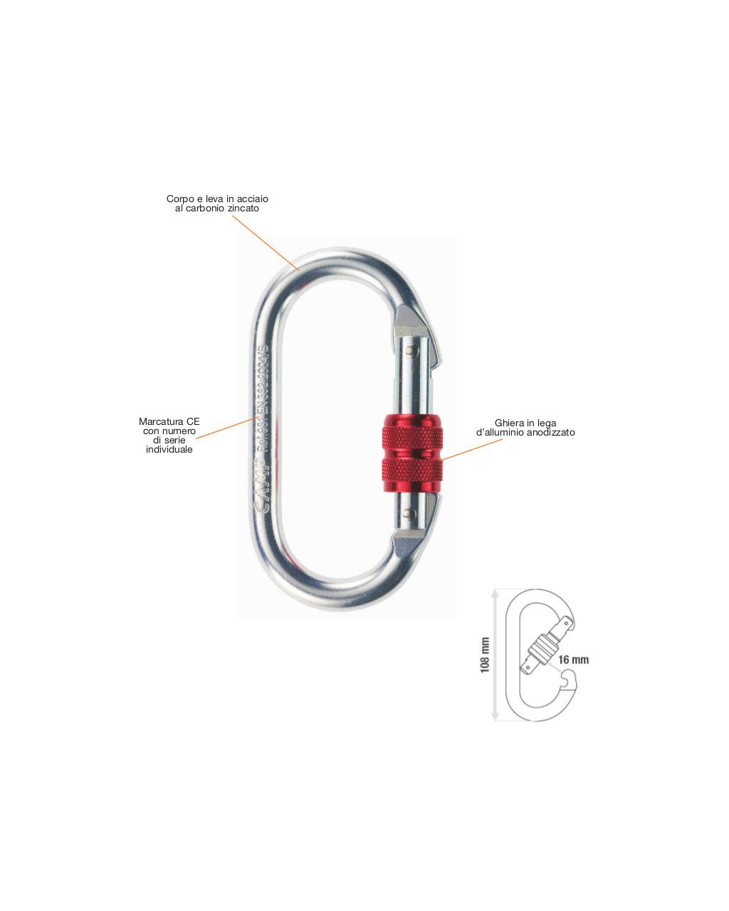 Connettore moschettone ovale camp 0981