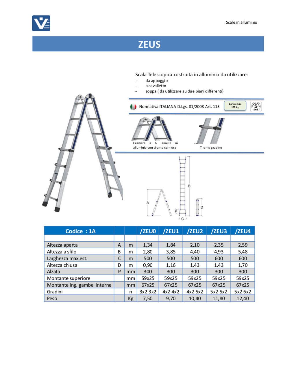 Scala telescopica alluminio zeus uso professionale - Scala telescopica alluminio ...