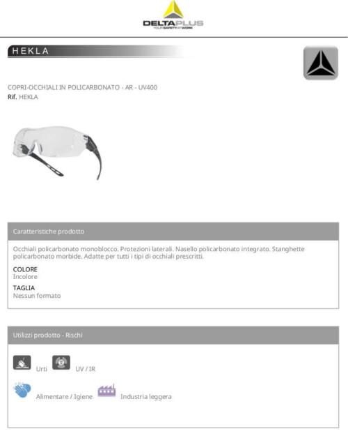 Hekla occhiali policarbonato monoblocco protezioni laterali Deltaplus scheda prodotto 1