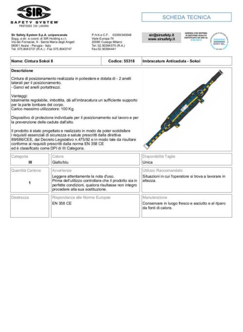 Cintura di posizionamento sokoi 8 55318 scheda tecnica