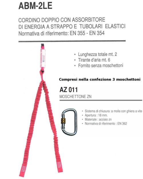 Cordino assorbitore energia a strappo e due tubolari elastici 3 moschettoni