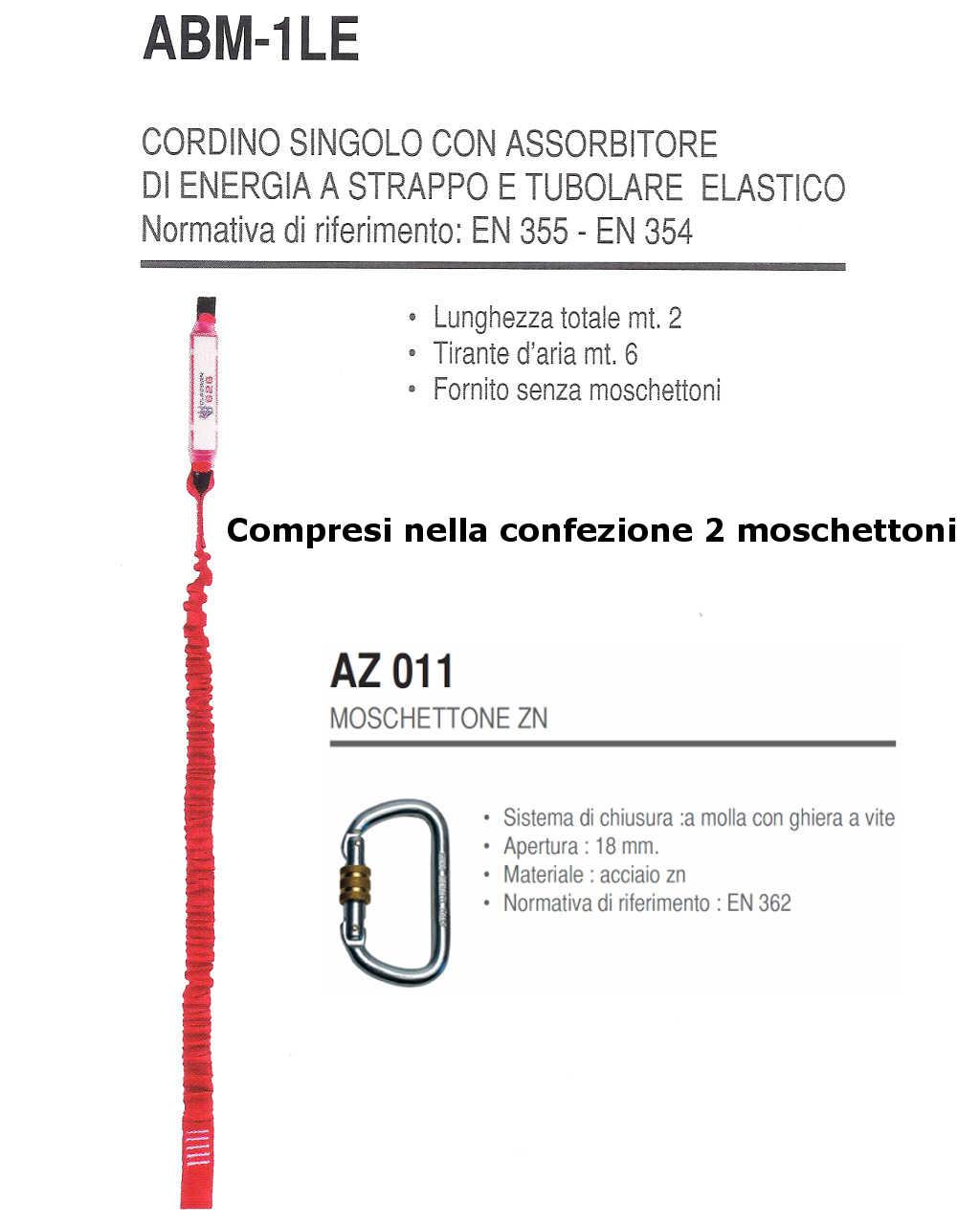 Cordino singolo con assorbitore di energia a strappo e tubolare elastico