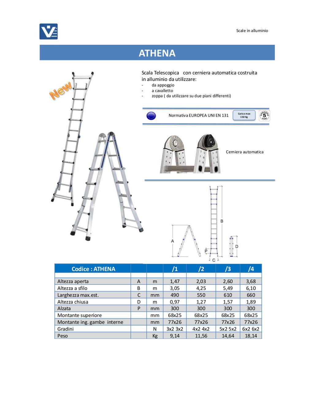 Altezza Gradini Scala scala telescopica alluminio athena uso professionale